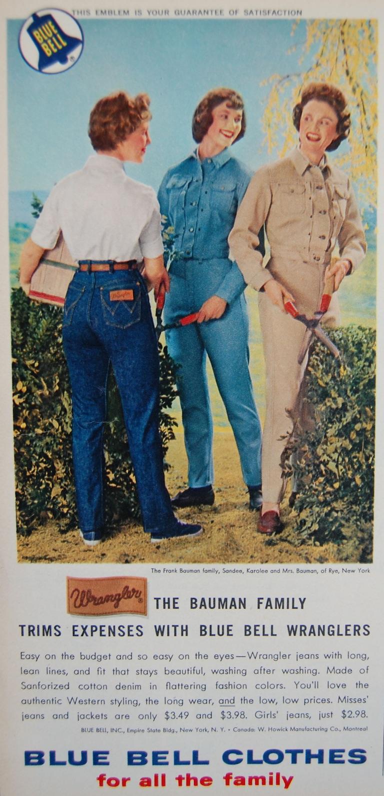 Реклама Blue Bell, середина 1950-х годов