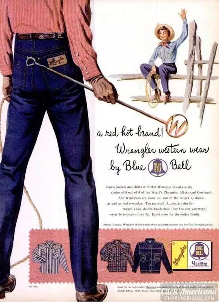 Реклама Blue Bell Wrangler Jeans, 1955 год