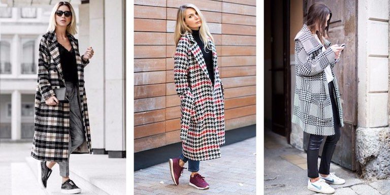 клетчатое пальто с кроссовками