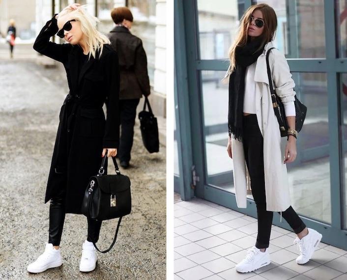 белые кроссовки под пальто