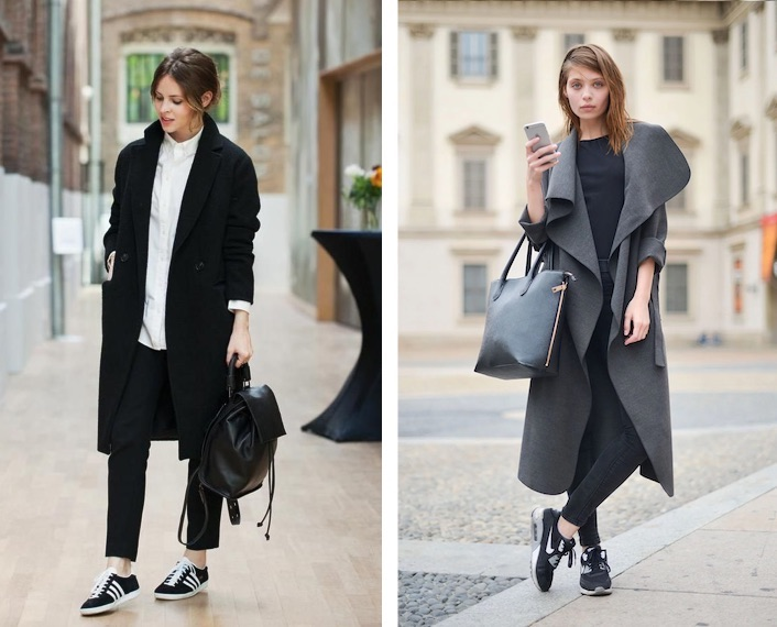 черные кроссовки и польто
