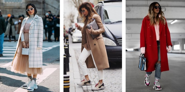 пальто с большими кроссовками