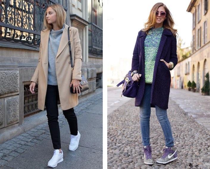 пальто с джинсами и кроссовками