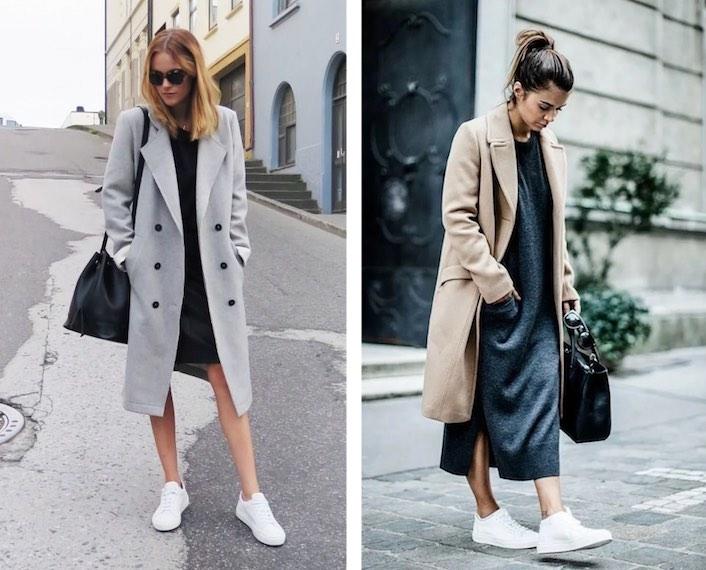 пальто с платьем и кроссовками