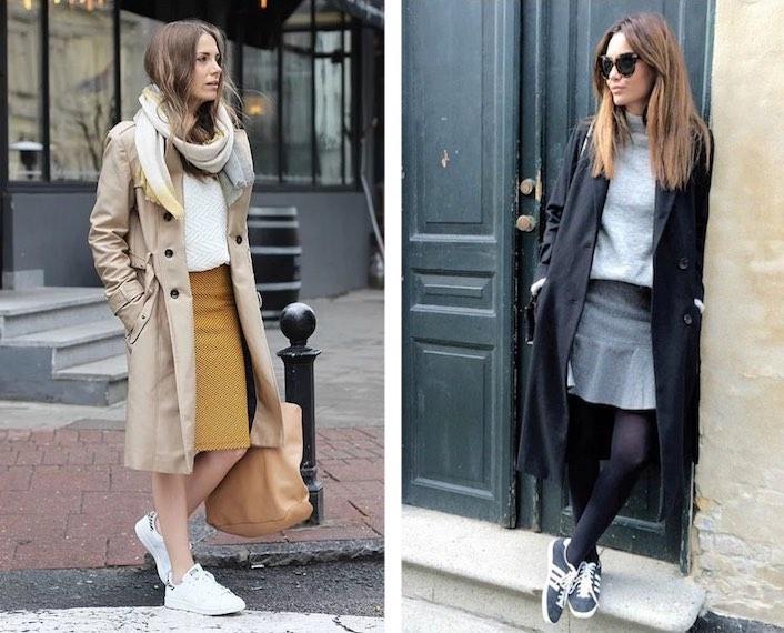 пальто с кроссовками и юбкой