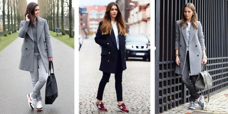 пальто пиджак с кроссовками