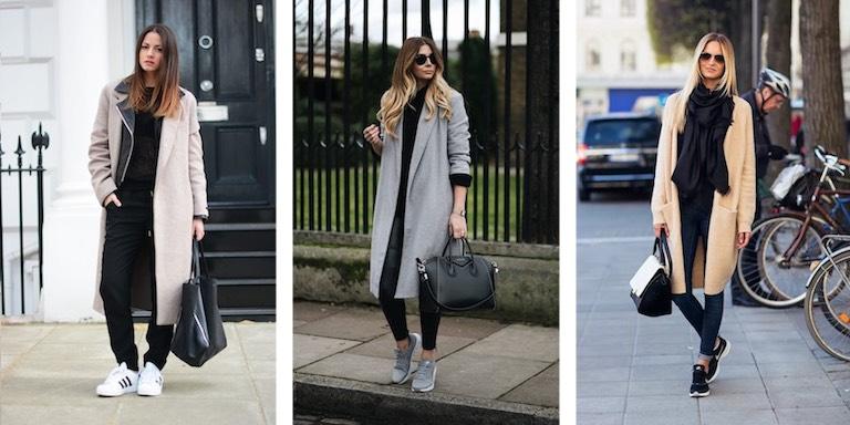 классическое пальто и кроссовки