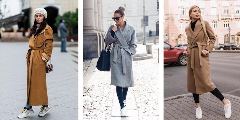 пальто халат с кроссовками